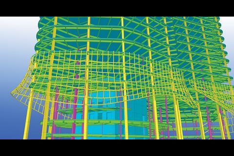 Bim enables the design team to work together to model every detail of a building. This model of KPF's Pinnacle building in London was created using Tekla's bim software.